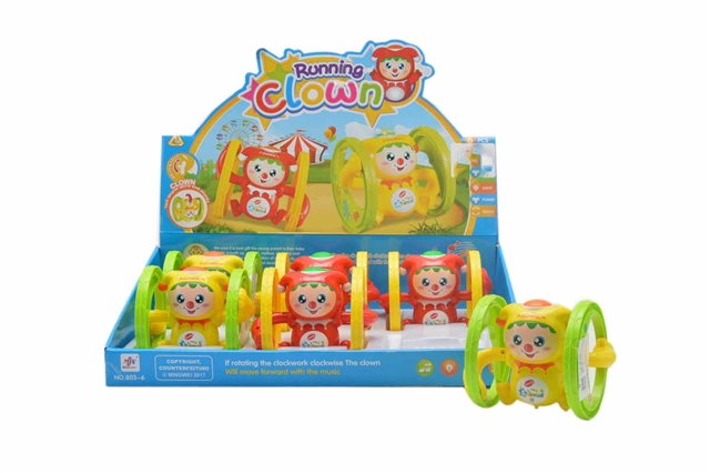 Running on the chain with music and lighting clown (6pcs \/ box) - CY371343