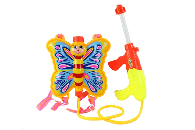 Butterfly backpack water gun yellow, rose red - CY372449