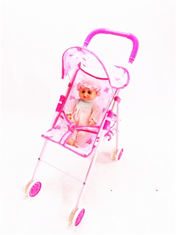 Light purple iron toy cart with baby - CY386802