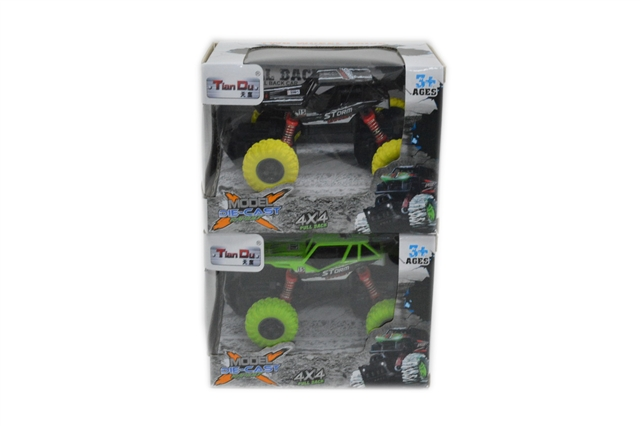 1:36d climbing alloy car with front and rear spring and shock absorber with light music - CY390200
